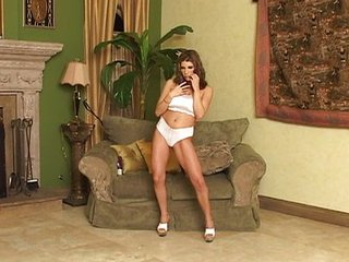 Busty MILF does solo toying