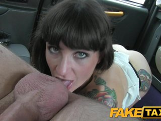 FakeTaxi Brunette does anal down alongside the hooey