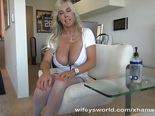 MILF Gives Milking Directors Kneading And Swallows