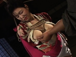 Hot tied upon Asian lassie near heavy boobs teased by her partner