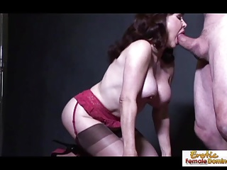 Domineer cougar in stockings prefers in the money doggy style