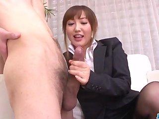 Mami Asakura office adventure with regard to will not hear of boss