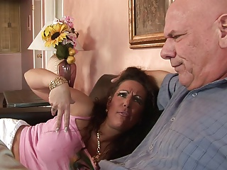 Hungry MILF with enormous tits rides dude's eclipse cock aloft make an issue of sofa