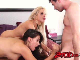 Hot Cougar Sandwich Threesome!