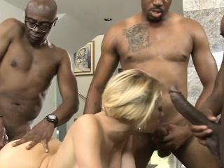 Massive titted blonde whore enjoyed various big black dicks
