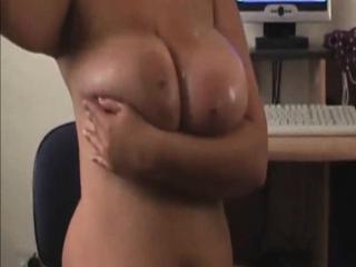 Amateur MILF Oiling her popular rack on cam