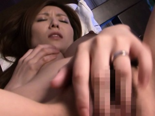 Asian milf toying the brush wet pussy with vibrator