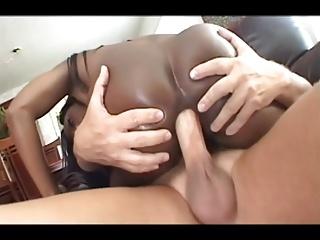 Hot ebony milf loves anal