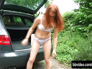 Redhead german cutie masturbate her hairy snatch