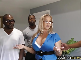 Amber Lynn Bach gets gangbanged coupled with creampied by BBCs