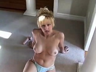Big breasted blonde wife has a cock and a dildo satisfying