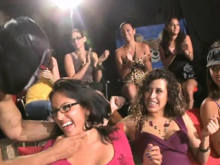 Cute stripper receives his wine bar delighted by several babes
