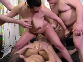 dissolute slippery gangbang charge from orgy