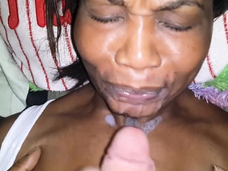 Carribean MILF takes an unsought facial from white cock