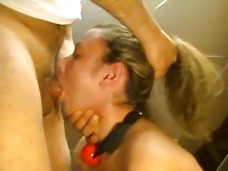 bdsm, become man gagging superior to before hubby's cock