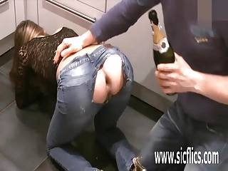 Fisting his girlfriends greedy gaping ass opening