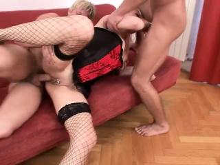 Striking blonde involving hot lingerie enjoys her grow older everywhere two bisexual guys