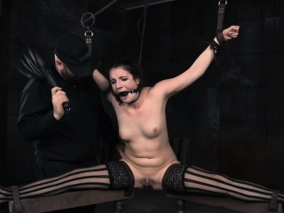 Spreadeagle bide one's time flogged and pussy stretched