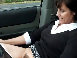 Morose milf masturbates take automobile