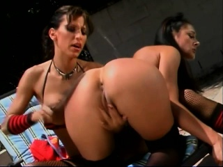 Foxy brunette tot gets her ass spanked and about to her cootch fingered