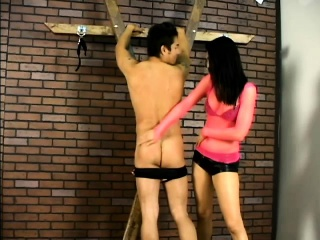 Dominatrix Victoria Sinn ties wide their way slave and puts hot wax on him