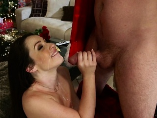 Drilled pierced babe facialized at Christmas