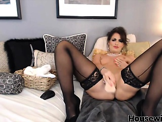 Mindy with hot black stokings increased by heels like down squirt