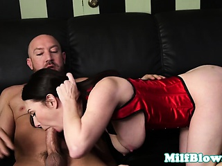 Busty inexperienced MILF cocksucks younger guy