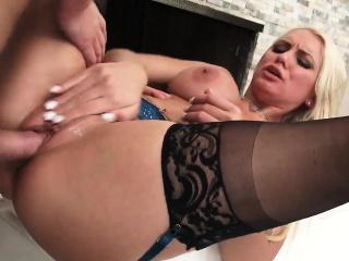 Plump Blonde MILF with Big Titties Takes a Dick Impetus