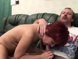 Handicapped man screwing busty redhead cougar