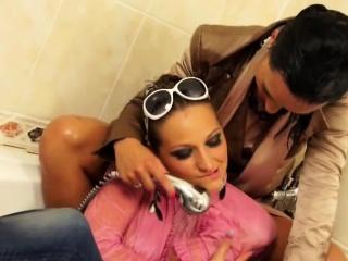 Hallow lesbians having a shower together