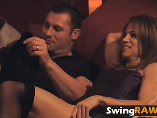 Saleable fit together in sexy lowering stockings begs husband to fuck her
