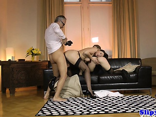 Cocksucking euro carefulness doggystyled in triple
