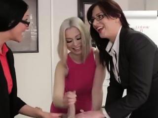 British CFNM babes massage wide the altogether challenge wide office