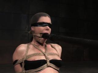 Blindfolded subslut flogged overwrought brutal master