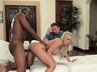 Husband adhering horny blonde wife doggy fucked by BBC