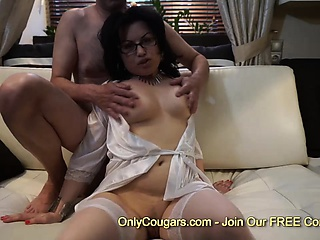 Slutty milf gets stabbed by dick in the sky couch