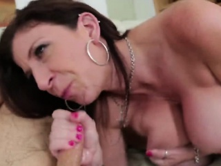 Brunette beamy tits milf blowjob sucking stance mom