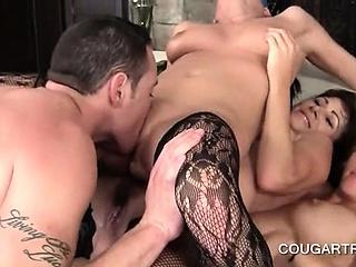 Dick craving cougars having a hardcore gangbang