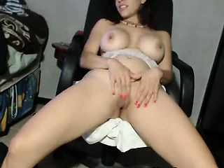 Busty brunette milf shows say no to pussy on make an issue of chair