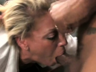 Alluring grown-up hottie is sucking dude's dick hungrily