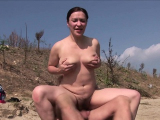 Busty MILF with inexperienced knockers fucks on the littoral