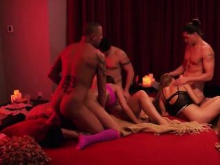 Hardcore swingers orgy with brunette MILF and the brush boyfriend