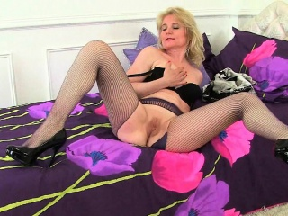 British milfs Diana and April part of hot in fishnet tights