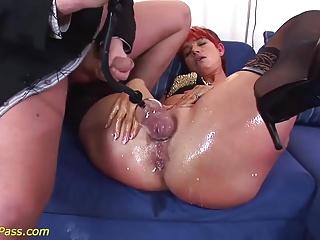 redhead big Milf gets anal pumped