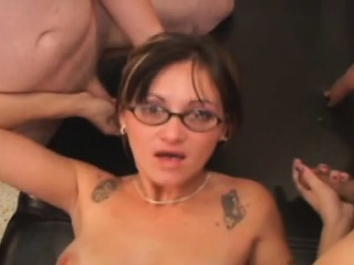 Brunette In the matter of Cum Insusceptible to Her Glasses Within reach Tampa Pigeon-hole Gangbang