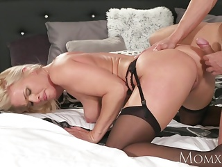 Mommy Blonde MILF in all directions stockings and lingerie deepthroats