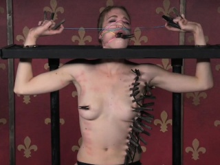 Stockinged bdsm hold one's horses awaken gets stand stock-still clamps on body
