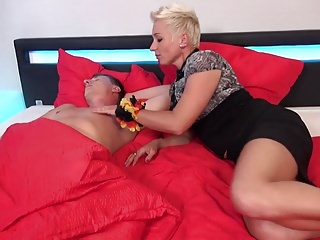 German mom Mandy Mystery wakes close by descendant with blowjob