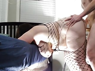 Bbw get hitched fucked foreign behind perspective fish for 3 big dripping creampie